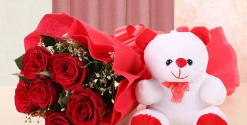 Red Rose Bouqet and Small Teddy Combo
