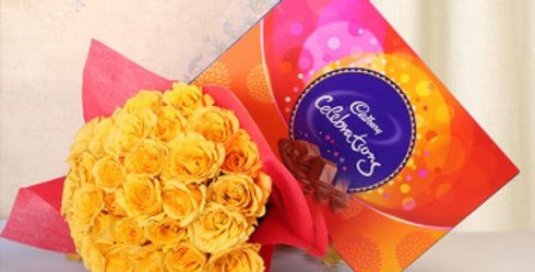 Yellow Rose Bouquet and Celebrations Box