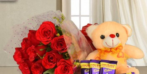 Red Roses Bouquet, Teddy Bear and Dairy Milk Chocolate Combo