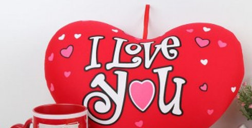 I Love You Heart Shaped Pillow and Customized Heart Handle Cup Combo