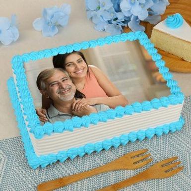 Blue Droplets Rectangle Photo Cake