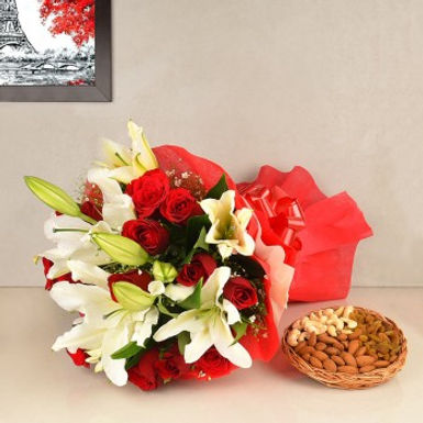 Rose+Orchids Bouquet and Assorted Dry Fruits Combo