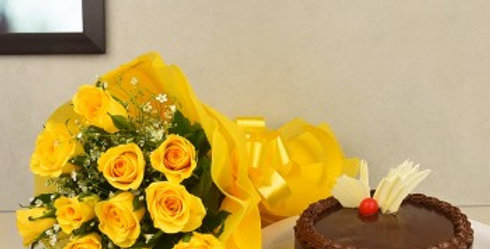 The Yellow Roses and Chocolate Cake Combo