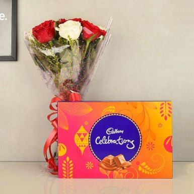 Red and White Roses Bouquet with Celebrations Box