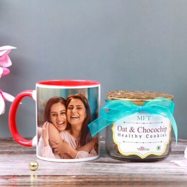 Customized Mug And Healthy Oat and Chocolate Cookies