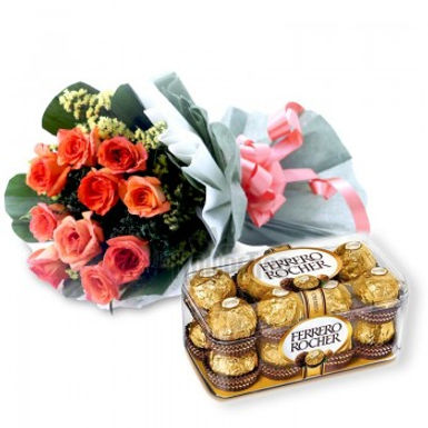 Pretty Red Roses and Fresh Leaves Bouquet with Ferrero Rocher Combo