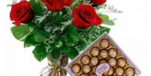 Red Roses in a Vase and XL Ferrero Rocher Combo