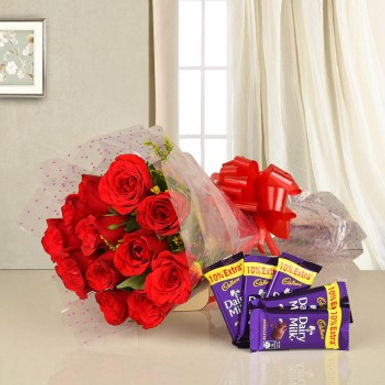 Red Rose Bouquet and Dairy Milk Combo