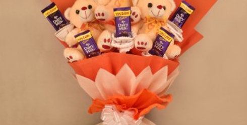 Teddy Bears and Dairy Milk Chocolates Bouquet