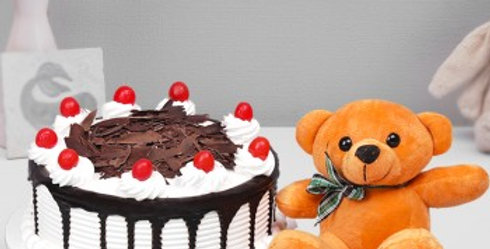 Black Forest Cake and Teddy Combo