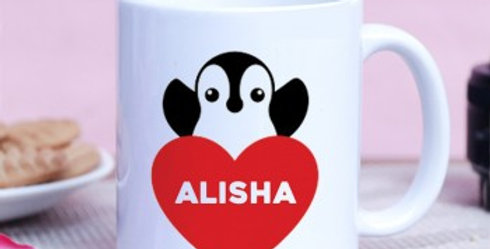 Customized Name in Heart with Penguin Mug