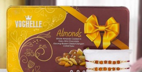 Almond Chocolates and 2 Rakhis Combo