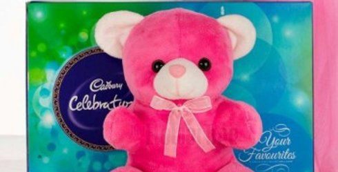Cute Pink Teddy with Celebrations Combo