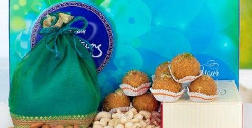 Big Celebrations Box, Laddoos and Dry Fruits Potli Combo