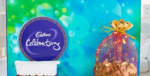 Big Celebrations Box, Single Rakhi and Mix Dry Fruits Potli Combo