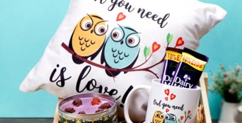 Owl You Need is Love Cushion, Mug and Chocolates Combo
