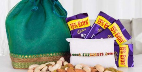 Dry Fruits Potli, Dairy Milk Chocolates and Single Tie Rakhi Combo