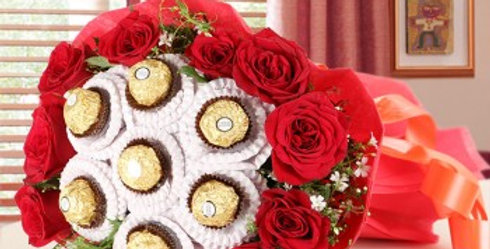 Ferrero Rocher and Red Rose Combined Combo