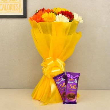 Assorted Daisies and Double Dairy Milk Silk Combo