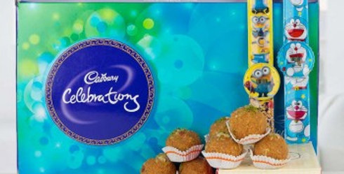 Double Slap-on-Wrist Rakhi, Big Celebrations Box and Mithai Combo