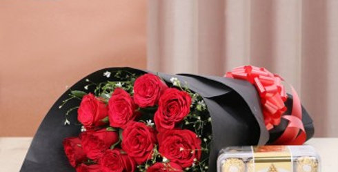 Red Rose Bouquet and Ferrero Rocher Combo