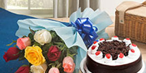 Assorted Colored Roses with Black Forest Cake
