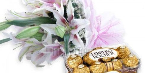 Stunning Lillies and Ferrero Rocher Combo