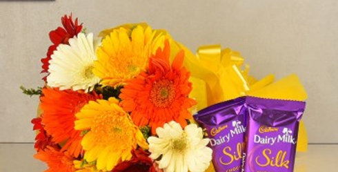 Assorted Daisies with Double Dairy Milk Silk Combo