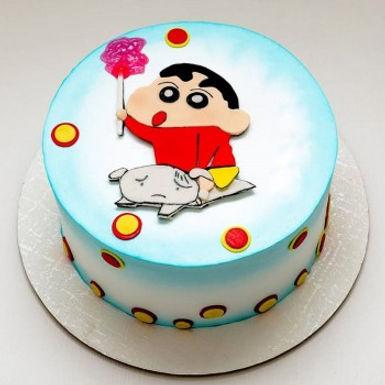 Shinchan and Shiro Fondant Cake