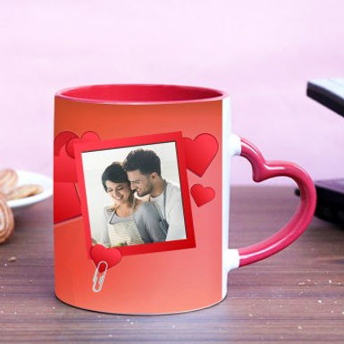Flying Hearts And Photo in Red Frame Customized Mug