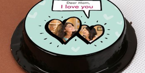 Round Speech Bubble with Photo Hearts Photo Cake