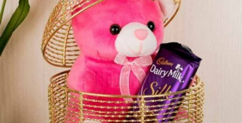 Cute Teddy and Chocolate in Fancy Piece Combo