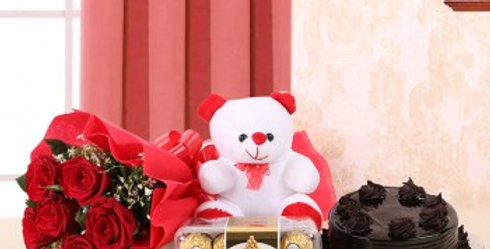 Red Rose Bouqet, Small Teddy, Ferrero Rocher Box and Chocolate Cake Combo