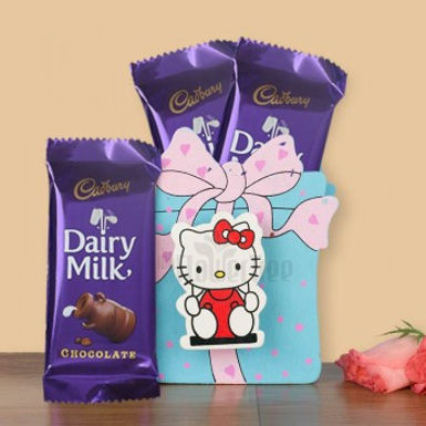 Hello Kitty Envelope and Double Dairy Milk Silk Combo