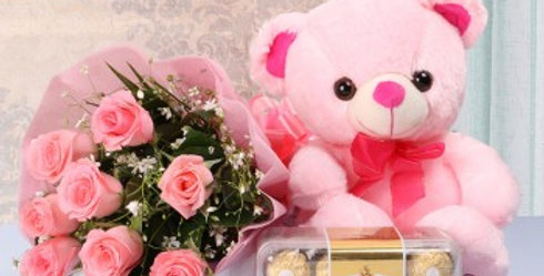 Pink Rose Bouquet, Cute Pink Teddy Bear and Ferrero Rocher Set