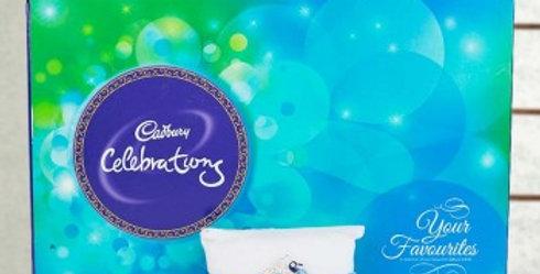 Big Celebration Box And Single Blue Tie Rakhi Combo