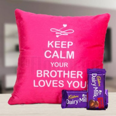 Keep Calm You Brother Loves You Cushion and Dairy Milks Combo