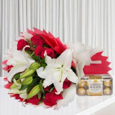 White Lillies and Ferrero Rocher Box
