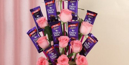 Pink Roses and Dairy Milk Bouquet
