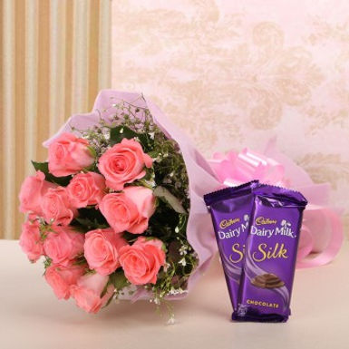 Pink Roses Bouquet and Dairy Milk Silk (Small)
