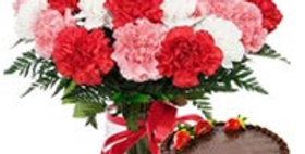 Assorted Carnations and Chocolate Cake