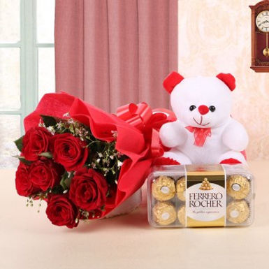 Red Rose Bouquet, Small Teddy and Ferrero Rocher Box Combo