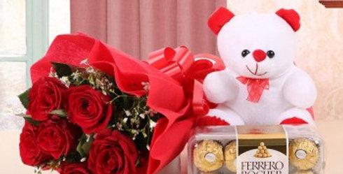 Red Rose Bouquet, Small Teddy and Ferrero Rocher Box Combo