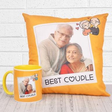 Customizable 'Best Couple' Photo Mug and Cushion Combo