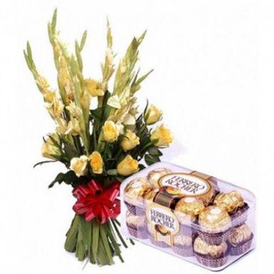 Yellow Orchids and Ferrero Rochers Box Combo