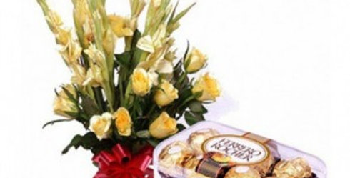 Yellow Orchids and Ferrero Rochers Box Combo