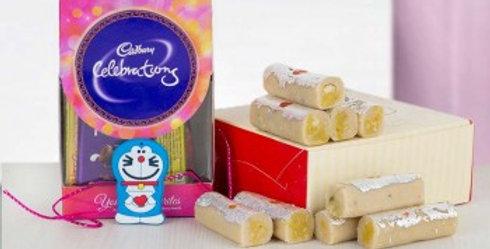 Doraemon Rakhi, Small Celebrations Box and Mithai Combo