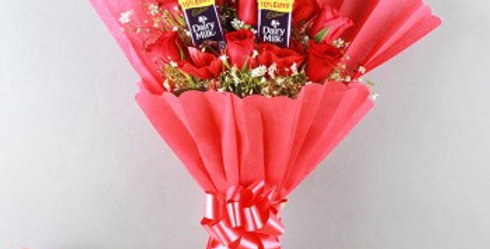The Red Rose and Dairy Milk Chocolates Combo