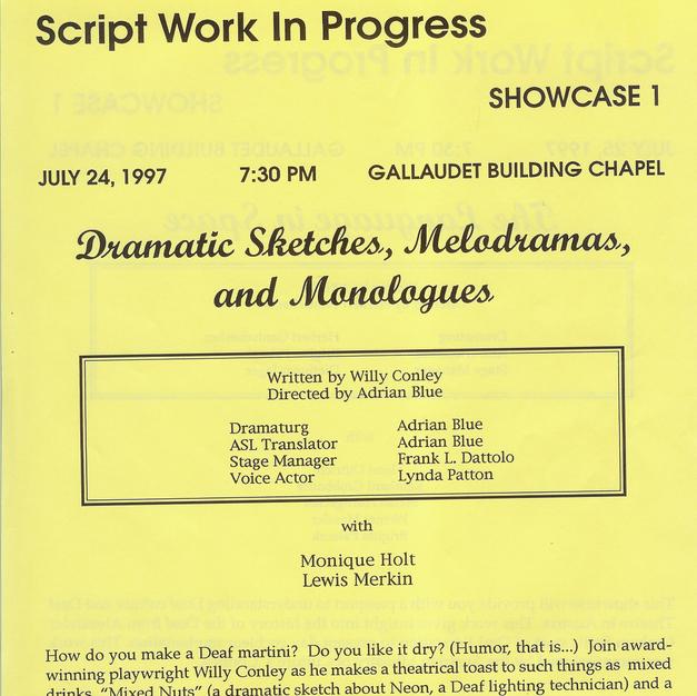 "Showcase: ""Dramatic Sketches, Monodramas, and Monologues"""