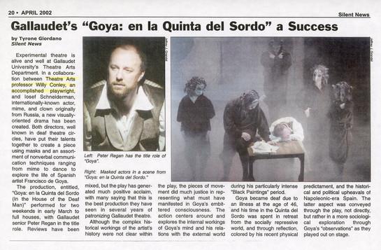 "Article: ""Gallaudet's 'Goya: en la Quinta del Sordo' a Success"""